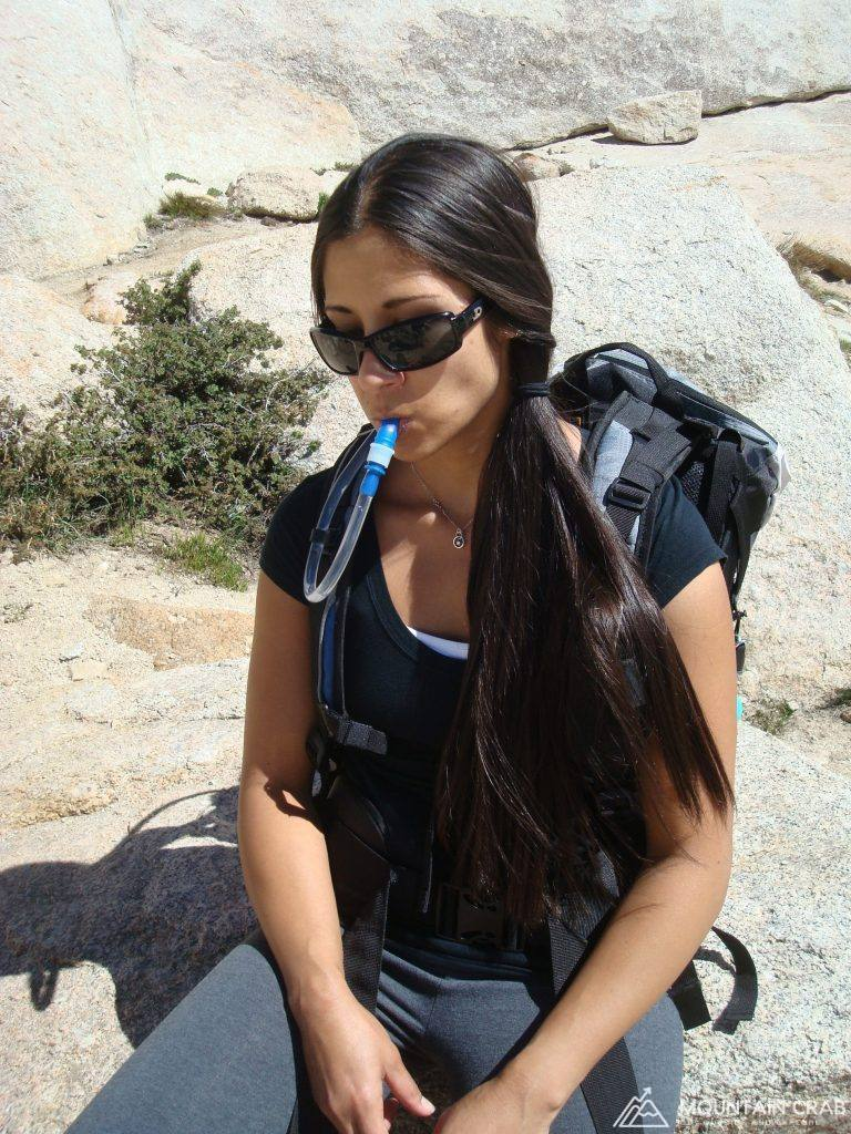 Christina Drinking Water on Mt. Whitney
